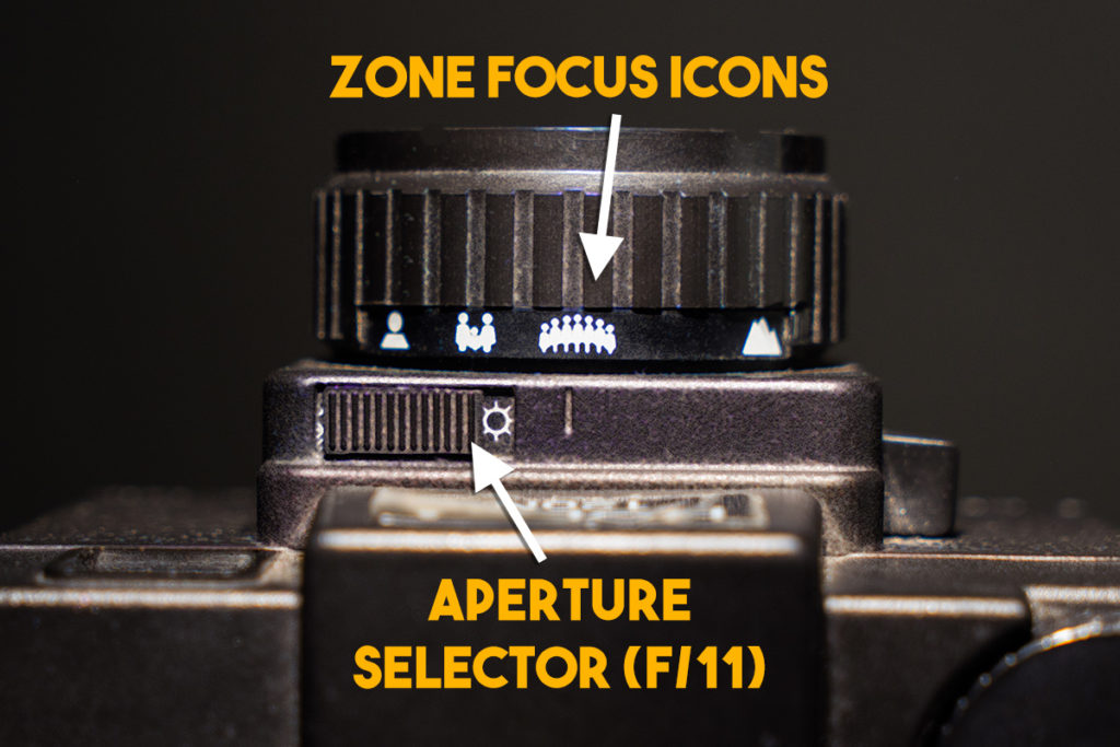 holga focusing icons and aperture selector switch